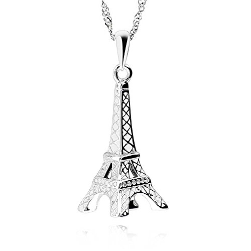 GemsChest Sterling Silver Eiffel Tower Pendant Necklace 18
