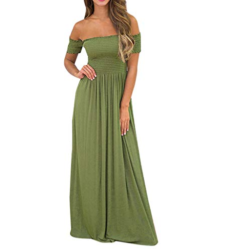 Toimothcn Womens Off Shoulder Maxi Dress with Sleeve Elastic Chest Evening Wedding Party Long Dress(Army Green,XL)