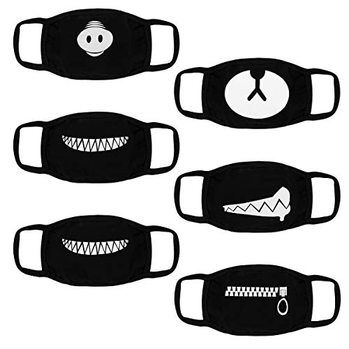 SuPoo 6 Pieces Teeth Pattern Mask Anti Dust Face Mouth Mask Cute Cotton Black Mask For Man For Woman for $<!--$8.69-->