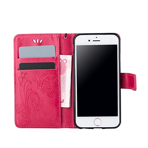 ZeWoo Folio Ledertasche - LD105 / Romantische Rosa - für Apple iPhone 6 (4.7 Zoll) PU Leder Tasche Brieftasche Case Cover