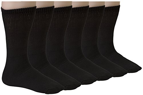 Diabetic Socks Womens Cotton 6-Pack Crew Black By DEBRA WEITZNER