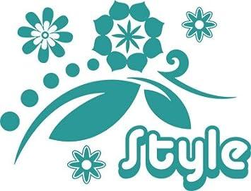 Wandtattoo Deko Für Wohnzimmer Schlafzimmer Flur Retro Style Mit Blume  (75x57cm//054 Türkis