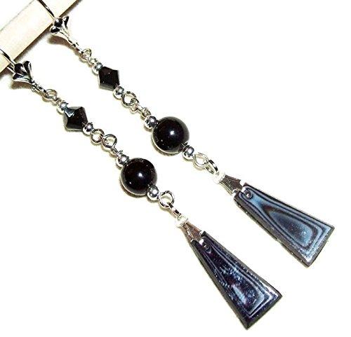 (BOHEMIAN Black Glass Earrings Silver Pltd ART DECO Revival Long Drops Czech Beads)