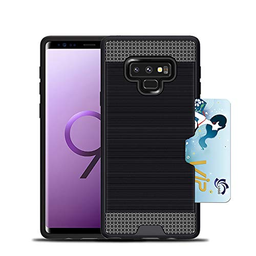 Galaxy Note 9 Wallet Case Hidden Pocket Card Holder ID and 2 in 1 Brushed Texture Back Cover for Samsung Galaxy Note 9 Black