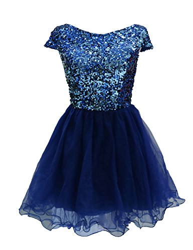 Sarahbridal Mine navy Dresses Short Womens Sequins Tullle Gowns Blue Prom Party Homecoming 396 r6rYq