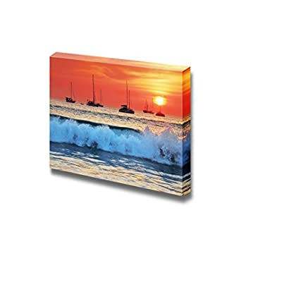 Canvas Prints Wall Art - Sea Waves on The Beach at Sunset | Modern Wall Decor/Home Decoration Stretched Gallery Canvas Wrap Giclee Print & Ready to Hang - 16