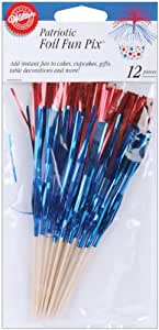 Wilton Fun Pix, Foil Patriotic Red and Blue, 12-Pack