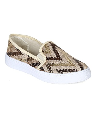Qupid BH62 Women Sequinned Fabric Slip On Flat Fashion Sneaker – Gold (Size: 6.0)