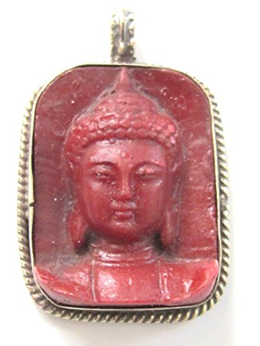 Tibetan red color Buddha face pendant from Nepal - PS001B ()