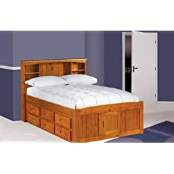 Discovery World Furniture Full Captains Bed Bookcase with 3 Drawers and Trundle, Desk, Hutch and Chair in Honey Finish