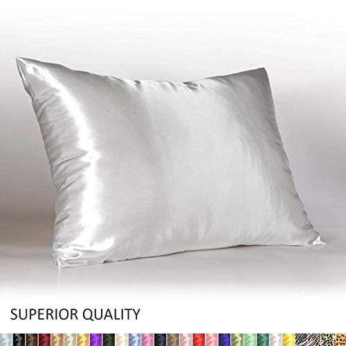 Shop Bedding Luxury Satin Pillowcase for Hair - Standard Satin Pillowcase with Zipper, White (Pillowcase Set of 2) - ()