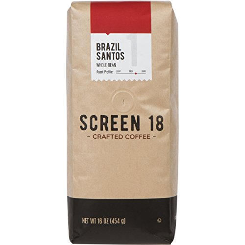 Screen 18 Brazilian Santos Single Origin Premium Crafted Coffee, Whole Bean, 1 LB Bag
