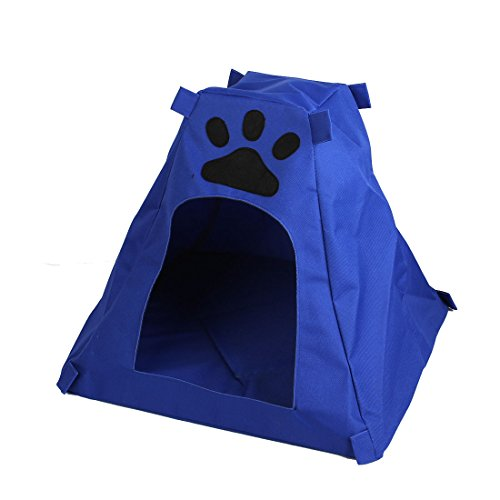 Paw Print Pet Removable Cushion Kennel House Doghole Blue