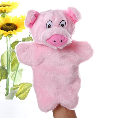 Gbell Kids Glove Hand Puppet ,Soft Plush Toys Story Telling Cute Cartoon Animal Doll,Tiger Crocodile Orangutan Antelope and Pig (C)