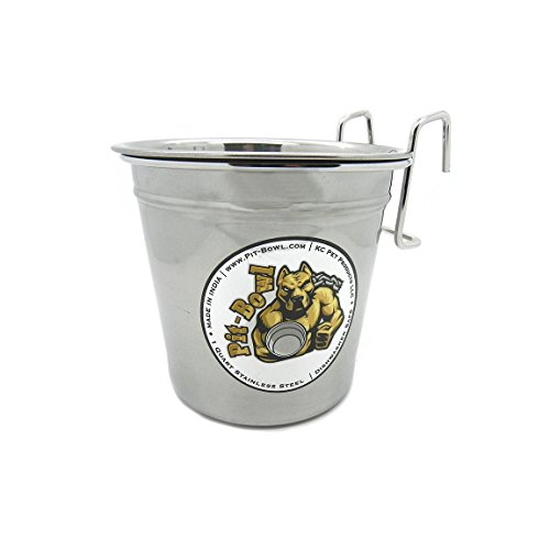 Pit-Bowl Stainless Steel Hook-on, Dog Crate Water Bowl (1 to 1.5qt) CR82 (Cage Carrier Crock)