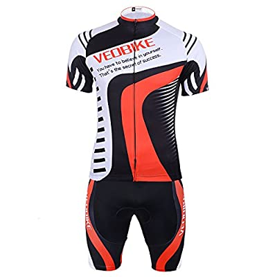 GWELL Men's Breathable Quick Dry Cylcing Jersey Short Sleeve Jersey & 3D Gel Padded Shorts Cycling Clothing Set Riding Sportswear