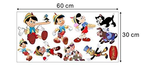 Pinocho personaje de dibujos animados pegatinas de pared silueta en todas partes se puede publicar papel tapiz de la habitaci/ón de los ni/ños pegatinas de pared de jard/ín de infantes