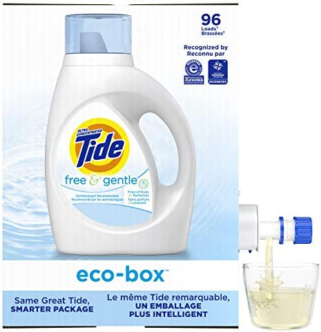 Tide Free and Gentle Ultra Concentrated Liquid Detergente para ropa ecobox compatible con HE 105 fl oz 96 cargas