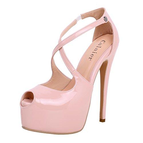 Calaier Plataforma Para Mujer 15cm Stiletto Wedding Prom Party Bombas De Tacón Alto Zapatos Pink Strape