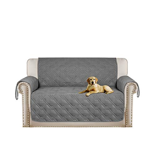 Turquoize Water Resistant Quilted Sofa Cover 100% Waterproof Protector for Love Seat Slipcovers Stay in Place Non-Slip, Stain Resistant, Great for Dogs, Pets and Kids(Oversize Loveseat 75''x98'') Grey by Turquoize