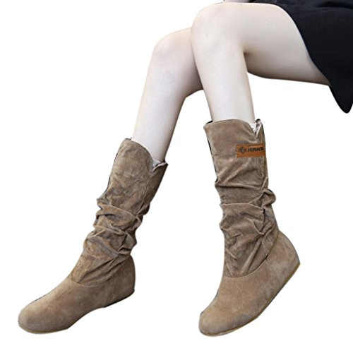 - Woman knee High Boots Flat Side Pleat Nubuck Motorcycle Suede Boot Autumn Winter Shoes (US:9, Yellow)