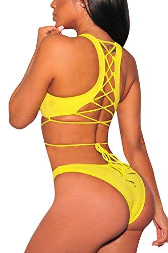Viottis Womens Push Up Pad Strap Tankini Set 2PCS Swimsuit with Brief