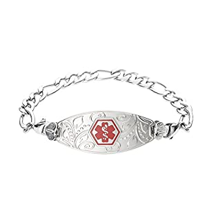 Divoti Deep Custom Laser Engraved Lovely Filigree Medical Alert Bracelet -Stainless Figaro-Red