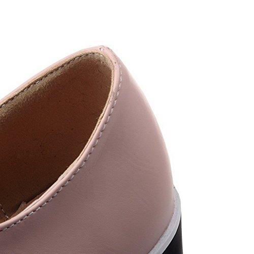 AllhqFashion Mujer Tacón Alto Sólido Cordones Material Suave Puntera Redonda De salón Rosa