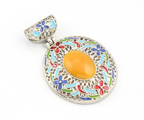 925 Sterling Silver Overlay Yellow Treated Baltic Amber Pendant Handmade (Amber Yellow Pendant)