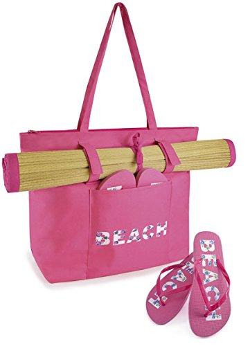Estivo da spiaggia, Swim & & Tote Bag-in-Tappetino da spiaggia, motivo: Ciabattine infradito Rosa (rosa)