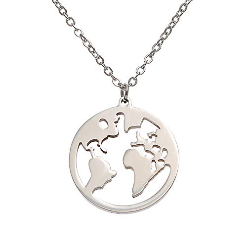 MIXIA Vintage Round Origami World Map Necklace Women Geometric Necklace Round Necklace Circle Necklaces & Pendants Choker Jewelry (Silver)
