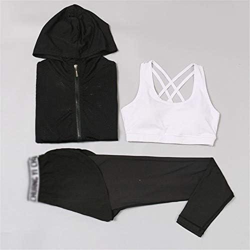 光婦人長袖メッシュフィットネスフィットネスヨガ3ピース屋外スリム速乾性の服を実行します ワークアウトスーツ (Color : A, Size : L)