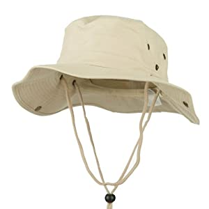 MG Men's Brushed Cotton Twill Aussie Side Snap Chin Cord Hat