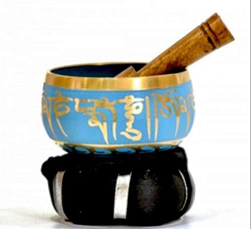 Tibetan Singing Bowl Set By Dharma Store - With Traditional Design Tibetan Buddhist Prayer Flag - Handmade in Nepal (Turquoise)