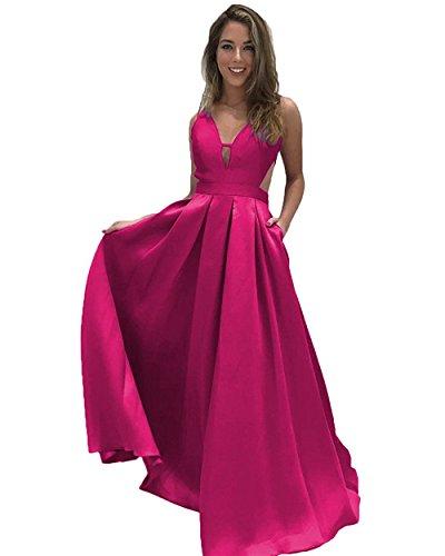 Ärmellos Linie A Fuchsie Lovelybride Lange Abendkleider Neck Taschen mit Rückenfrei V 5qpBBxCwX