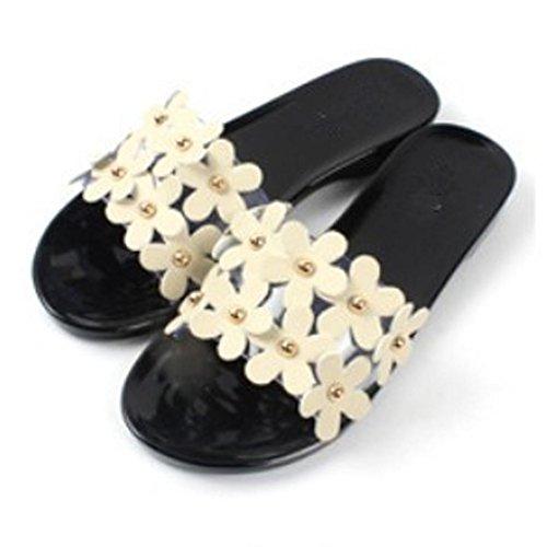 LANDFOX Verano Mujeres Playa Zapatos Sandalias Planas Flor Deslizamiento Resistente Zapatillas Sandalia Negro