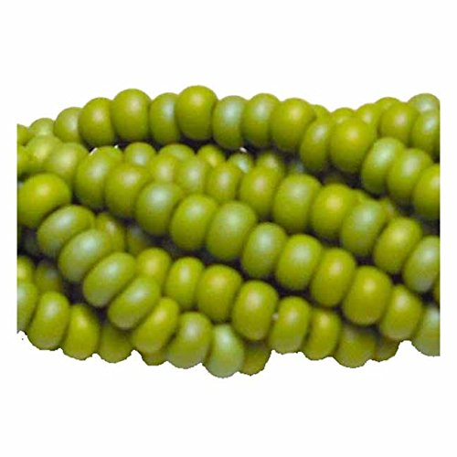 Olive Opaque Matte Ab Czech 6/0 Seed Bead on Loose Strung 6 String Hank Approx 900 Beads (Olive Matte Opaque)