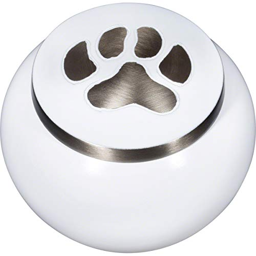 Best Friend Services Mia Paws Series Pet Urn (Cloud White, Medium, Pewter)