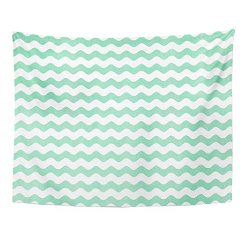 Tarolo Decor Wall Tapestry Azure Watercolor Seafoam Blue Wavy Striped Pattern Chevron Classic Color 80 x 60 Inches Wall Hanging Picnic for Bedroom Living Room Dorm