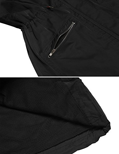 Pluie 1 Manches Casual Noir Femme Capuche Veste Longues Impermable ANGVNS De Pliable P8xEqgwp