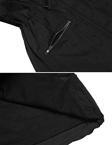 Abrigo Impermeable Capucha Chaqueta Lluvia Angvns Larga Plegable Manga De Mujer qp7wvfU