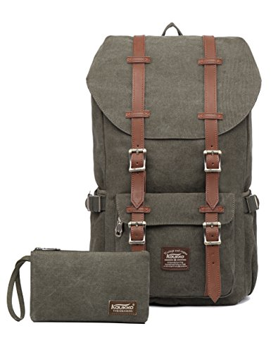 "Kaukko Laptop Outdoor Backpack, Travel Hiking& Camping Rucksack Pack, Casual Large College School Daypack, Shoulder Book Bags Back Fits 15"" Laptop & Tablets (Canvas Green(2pcs)) from KAUKKO"