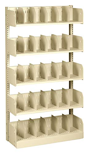 Starter Shelving Face - 36' x 12' x 66' Single Face Starter Divider Library Shelving with 5 Shelves, Ch/Putty