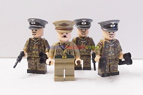 New WWII German Minifigures Hitler with 3 General Soldiers Custom Brand (Girls Ww2 Costume)