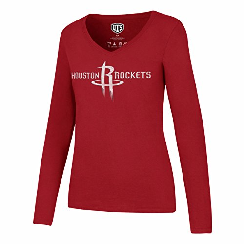 NBA Houston Rockets Women's OTS Rival Long Sleeve Distressed Tee, Medium, Red