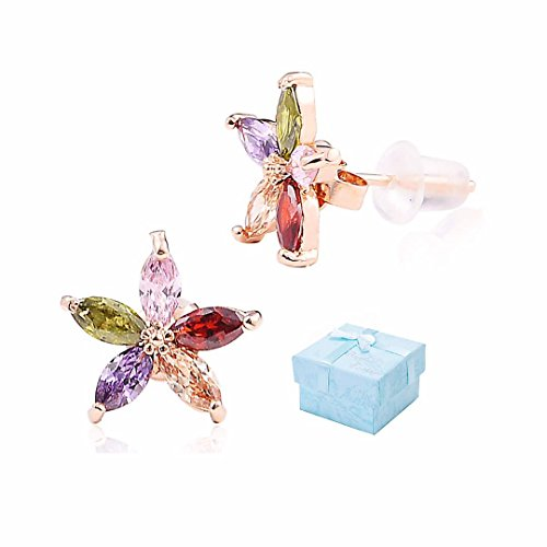 Buyless Fashion Surgical Steel Rose Gold Flower Earrings With Colored CZ Stones And Push Backs In Gift Box-ECZFLCLD Date Flowers Earrings