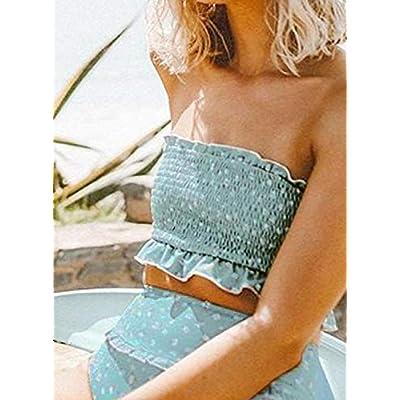 Aleumdr Womens 2 Pieces Bandeau Bikini Swimsuits Off Shoulder High Waist Bathing Suit: Clothing