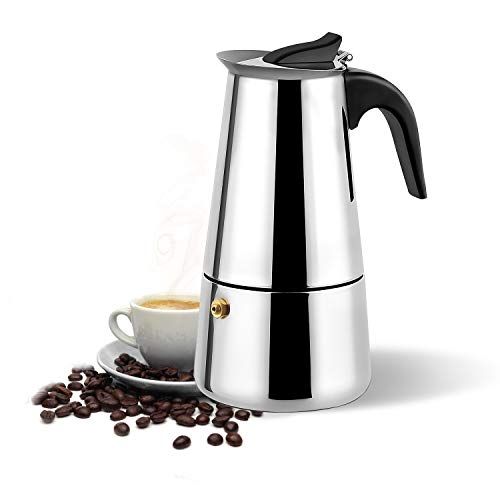 (Stovetop Espresso Maker,Moka pot, Espresso Machine,Stainless Steel Espresso Machinefor 6 cups (300 ml),italian coffee maker Espresso and Coffee Maker for for Gas or Electric Ceramic Stovetop)