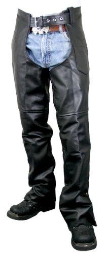 Xelement B7552 Mens Black Easy Fit Premium Motorcycle Chaps - 34