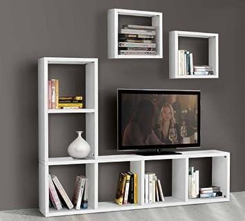 Legno&Design Puerta TV estantería Mueble salón Blanco ...